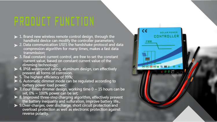 Buck type Constant Current Solar Charge Controller product function